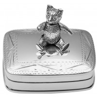 PB517   Ari D Norman Sterling Silver Pill Box with Moving Teddy Bear